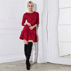 Fall Suede Casual Dress