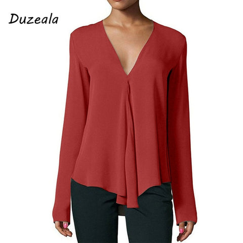 Shirt V-Neck Long Blouse