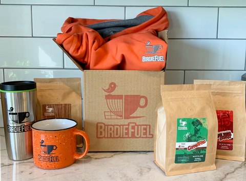 Birdie Fuel Coffee custom logo box with coffee, T-shirt and mug