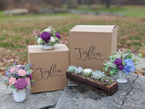 Joyfleur handcrafted wood floral arrangements with Brandable Box custom logo boxes