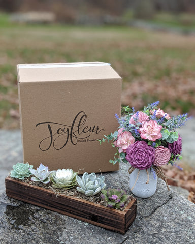 Joyfleur handcrafted purple wood flowers and succulents with Brandable Box custom logo box