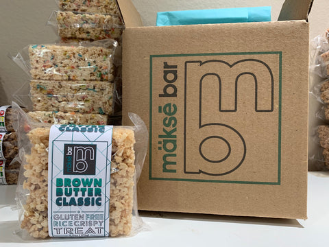 Makse Bar custom shipping box with rice crispy treats