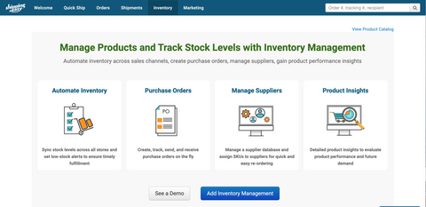 ShippingEasy inventory management page
