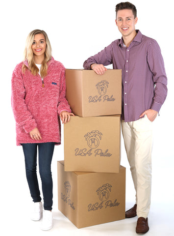 USA Palm reversible sherpa fleece and men's royal dress shirt with custom logo boxes