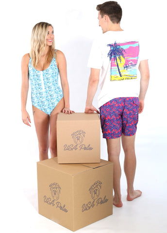 USA Palm swimwear with custom logo boxes