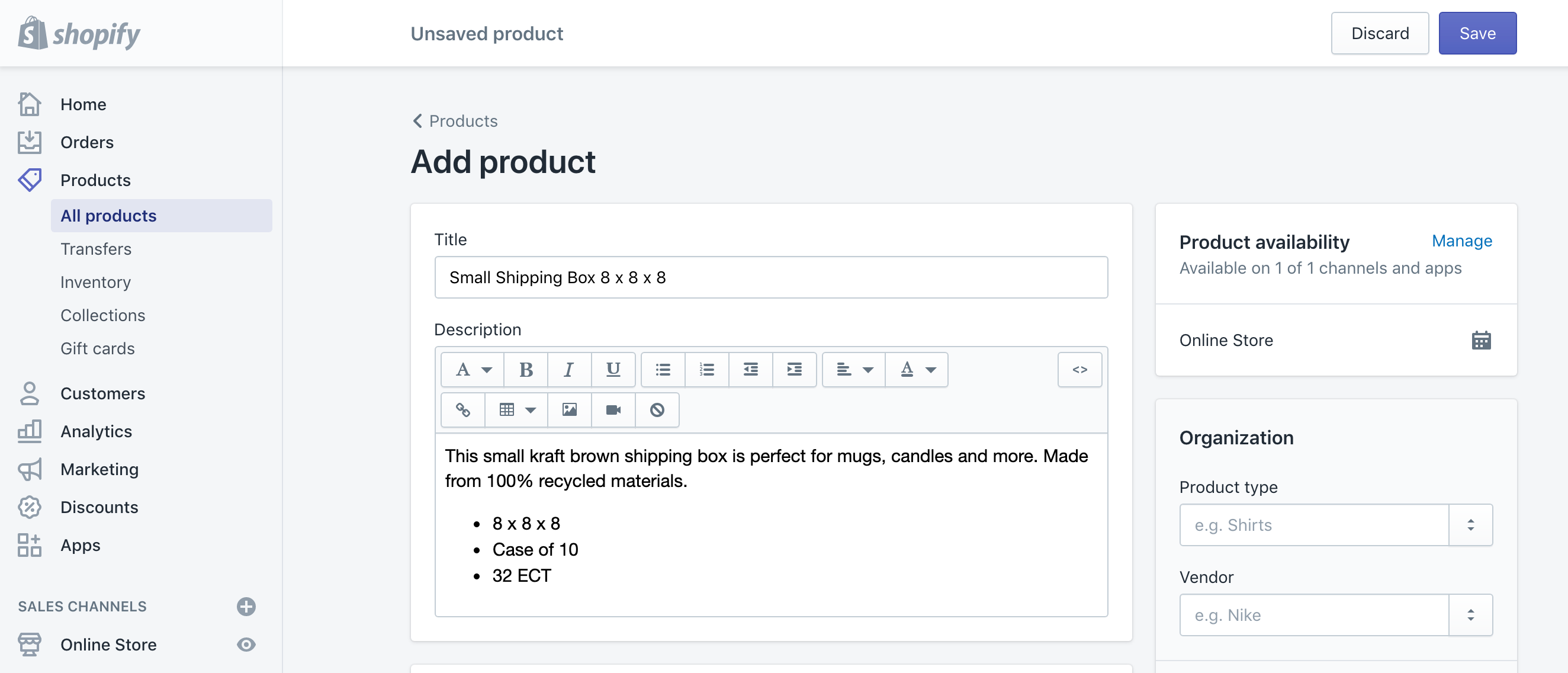 add a product to shopify