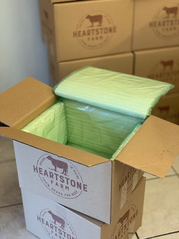 Heartstone Farm recycled shipping boxes with corn-based insulation
