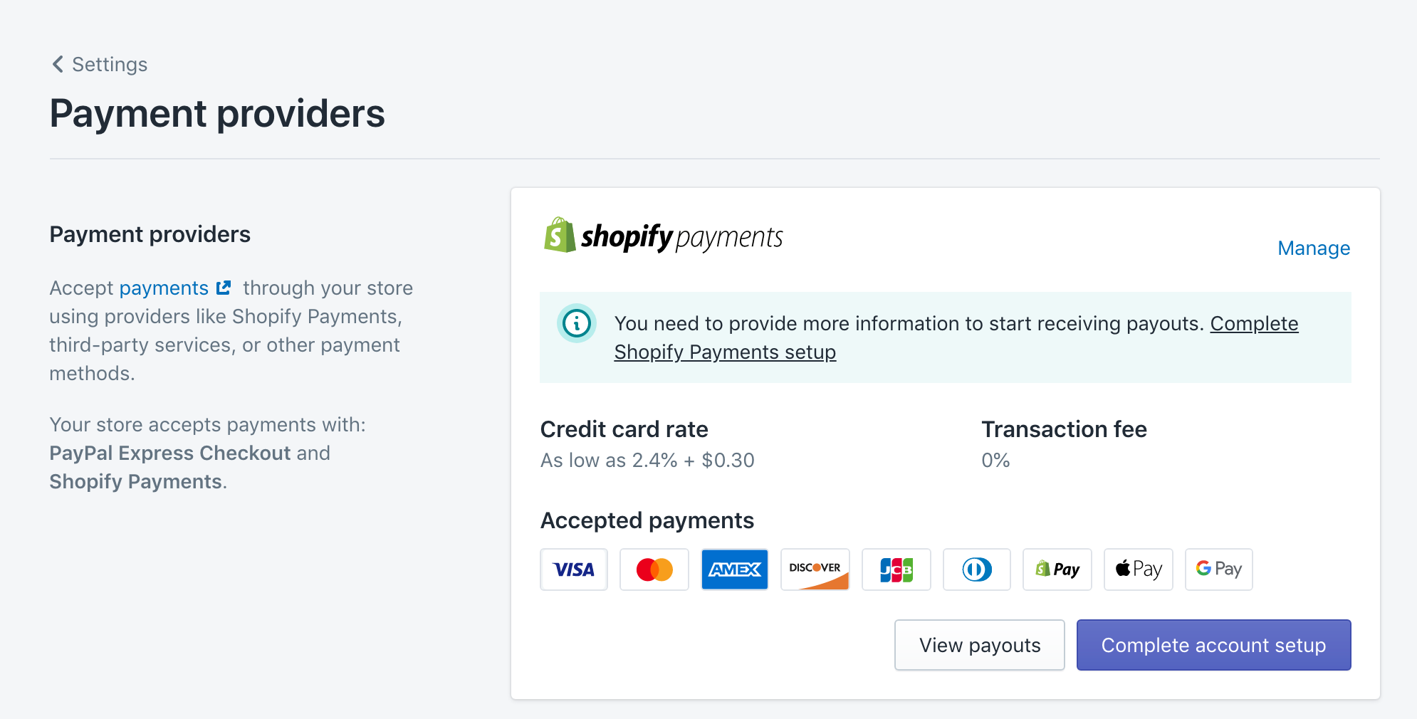 payment provider shopify