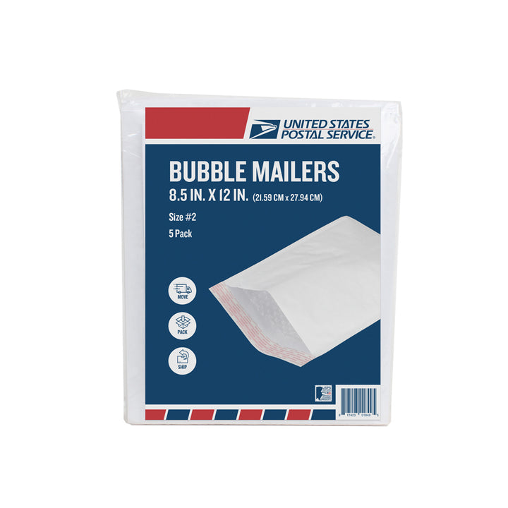 USPS Pack of 5 White Bubble Mailer 8.5in x 12in