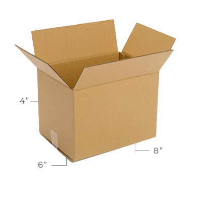 Small Corrugated Plain Kraft Brown 8x6x4 Shipping Box With Dimensions Displayed