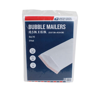 USPS Pack of 5 White Bubble Mailer 10.5in x 16in