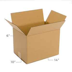 Medium Corrugated Plain Kraft Brown 14x10x6 Shipping Box With Dimensions Displayed