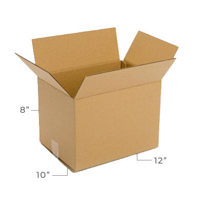 Small Corrugated Plain Kraft Brown 12x10x8 Shipping Box With Dimensions Displayed