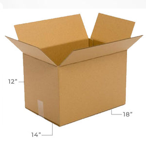 Large Corrugated Plain Kraft Brown 18x14x12 Shipping Box