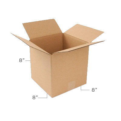 Small Corrugated Plain Kraft Brown 8x8x8 Shipping Box With Dimensions Displayed
