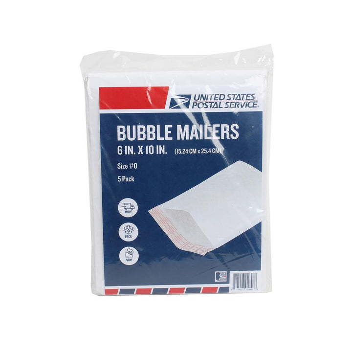 USPS Pack of 5 White Bubble Mailer 6in x 10in