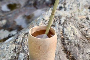 Bamboo cup and bamboo straw