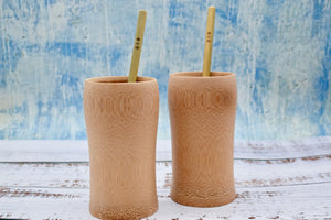Bamboo cups with bamboo straws