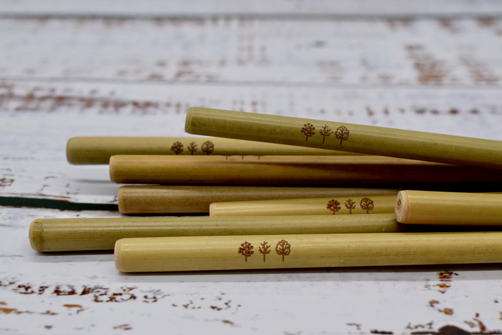 Bamboo straws close up