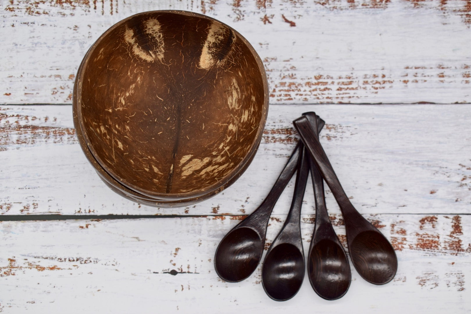 Coconut bowl and spoons