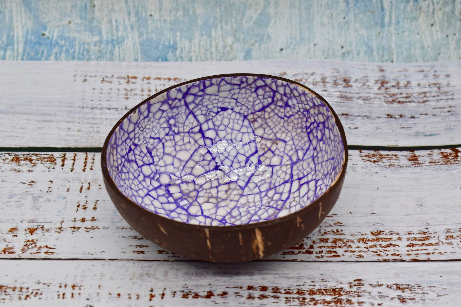 Coloured coconut bowl, purple colour