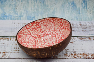 Coloured coconut bowl, red colour