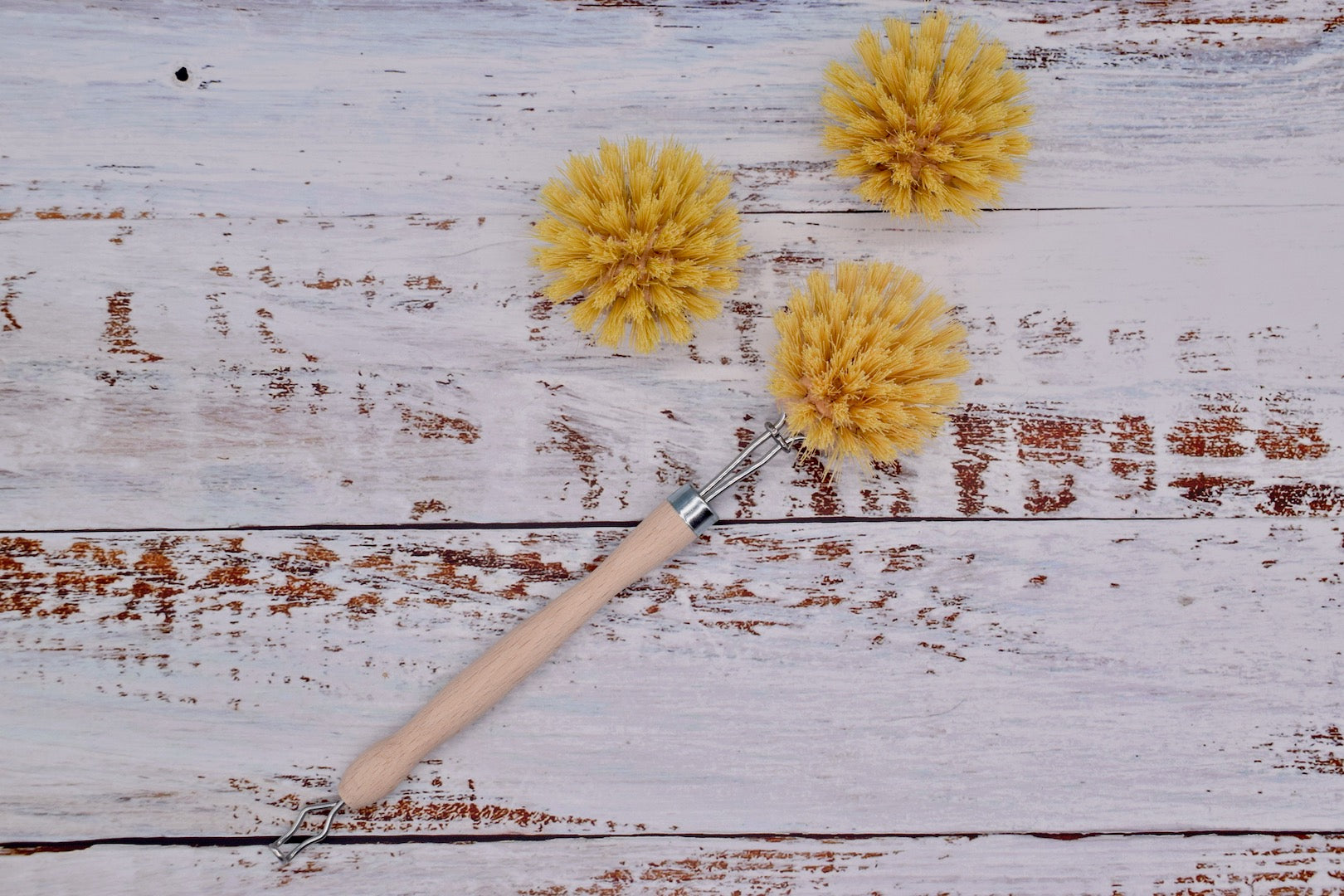 Natural cleaning brush with replacement heads