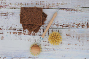 Natural cleaning brush, coconut scourer, coconut sponge, Eco cleaning kit