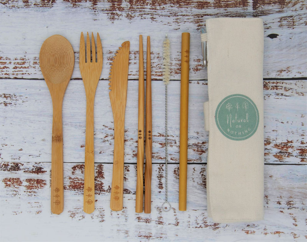 Bamboo cultery set with canvas travel cutlery bag