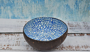 Coloured coconut bowl, blue colour
