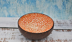 Coloured coconut bowl, Orange colour