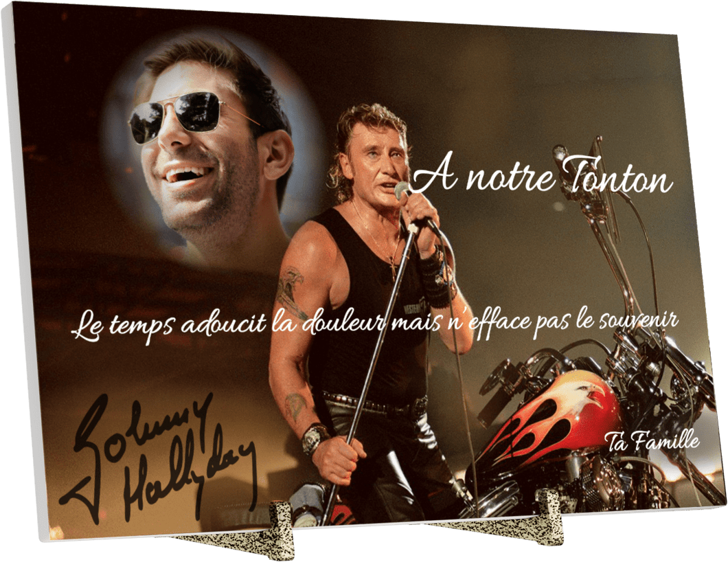 Plaque Funéraire Johnny Hallyday en Pierre Acrylate