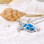 Deep Blue Opal Turtle Necklace