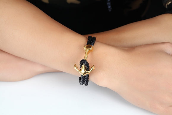 Braided Leather Anchor Bracelet