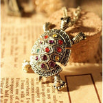 Rhinestone Crystal Cute Little Turtle Necklace