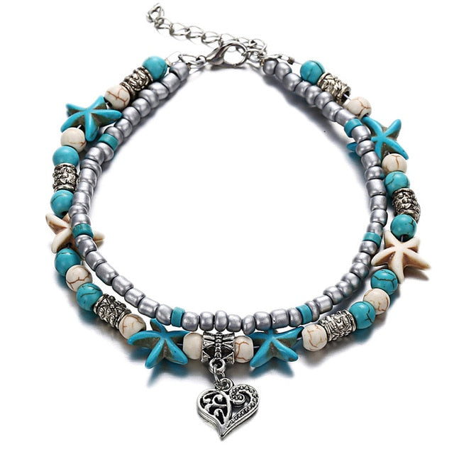 Bohemian Heart and Stone Natural Anklet