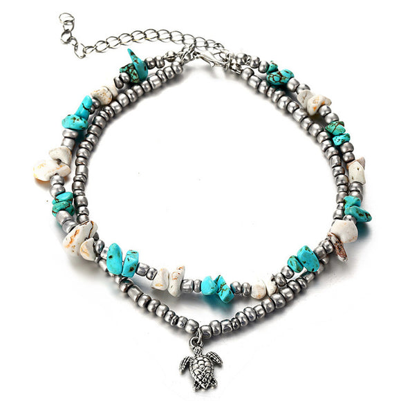 Turtle and Natural Stone Anklet