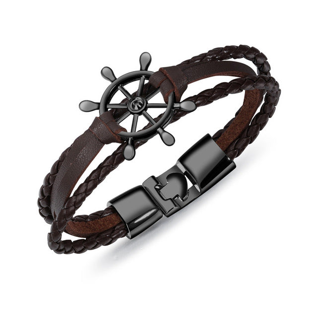 Leather Ship Wheel Bracelet