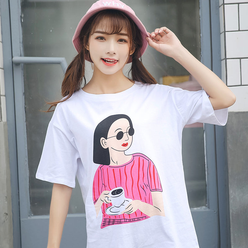 165adbd50 Women's T-shirts Japan Harajuku Ladies Ulzzang Cute Cartoon Girl Printed  Loose Clothes Female Korean