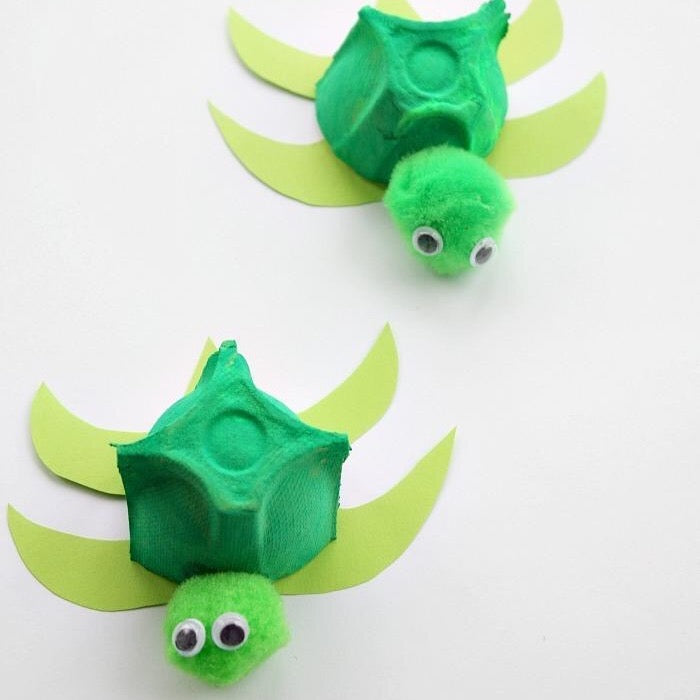 Sea Turtle Craft - Recycled Egg Carton