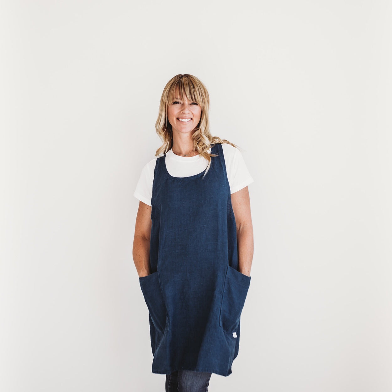 Linen Apron - Pacific Blue