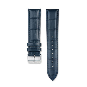 Navy Blue Leather Strap With Alligator Pattern
