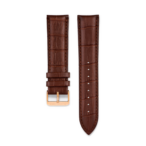 Brown Leather Strap With Alligator Pattern
