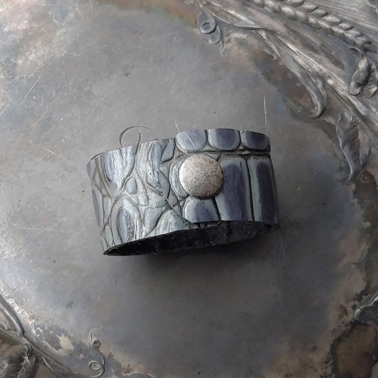 Silver Intaglio Leather Shawl Cuff