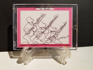 GORGEOUS GUITAR TRIO - Original One Line Art Card - Acrylic Encased w/ Table Top Easel