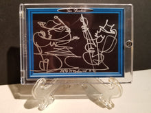 Load image into Gallery viewer, RICK & SAM KILLER JAM - Original One Line Art Card - Acrylic Encased w/ Table Top Easel