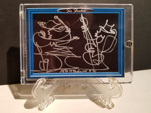 RICK & SAM KILLER JAM - Original One Line Art Card - Acrylic Encased w/ Table Top Easel