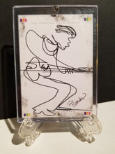 Load image into Gallery viewer, GEORGIE BOY GETTING DOWN ON GUITAR - Original One Line Art Card - Acrylic Encased w/ Table Top Easel