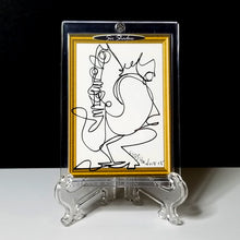 Load image into Gallery viewer, BLOWING NOTES - Original One Line Art Card - Acrylic Encased w/ Table Top Easel