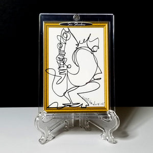 BLOWING NOTES - Original One Line Art Card - Acrylic Encased w/ Table Top Easel